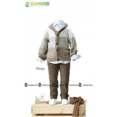 A special and elegant three-piece boy set, wool jacket, pants and shirt