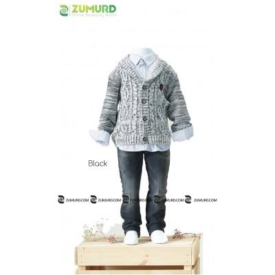 A stylish and elegant boyhood set of three-piece wool jacket, pants and shirt