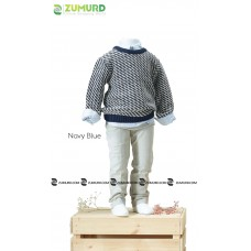 A special and elegant three-piece boy set, wool sweater