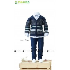 A stylish and elegant three-piece boy set, fleece jacket, shirt and pants
