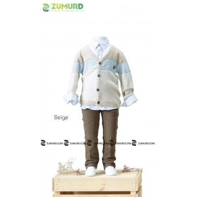 A stylish and elegant three-piece boy set, fleece jacket, shirt and pants