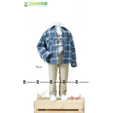 A stylish and elegant three-piece boy set, shirt, cotton sweater and pants