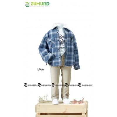 A stylish and elegant three-piece boy set, shirt, cotton sweater and pants
