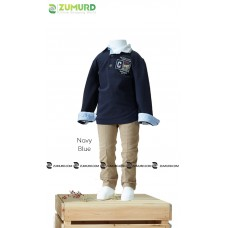 A stylish and elegant three-piece boy set, shirt, pants and cotton sweater