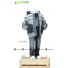 A stylish and elegant three-piece boy set, jacket, pants and cotton sweater