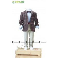 A stylish and elegant three-piece boy set, formal jacket, pants and shirt