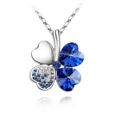 Female Alloy with Gold Plating Swarovski Elements Austrian Crystal Necklace with Four Leaf Clover Pendant Blue