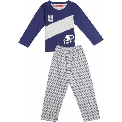 Joanna Blue And Light Grey Mixed Materials Pajama For Boys