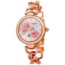 Akribos XXIV MOP Twist Chain Women's Pink/White Alloy Band Watch