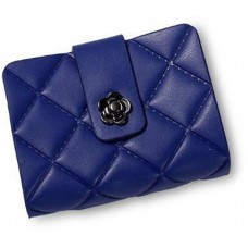 Leather Book Style Card Holder Blue