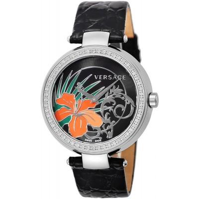 Versace Mystique Women's Black Dial Leather Band Watch