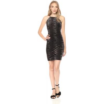 Guess Women's Sleeveless Chloe Velvet Dress, Jet Black/Multi, Large