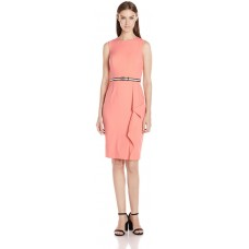 Calvin Klein Women's Belted Sheath Dress, Peach, 10