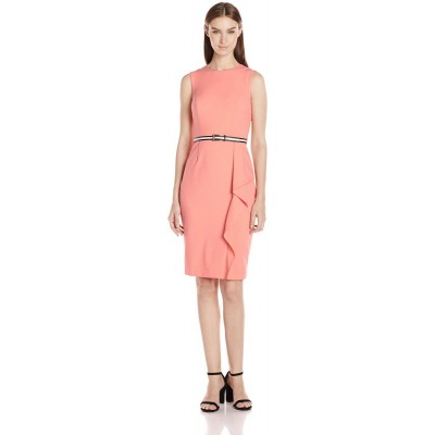 Calvin Klein Women's Belted Sheath Dress, Peach, 10
