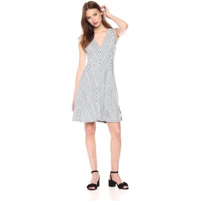 Max Studio Women's Knit End Stripe Dress, Heather Indigo/Ivory Mini Graded Block Stripe, Medium